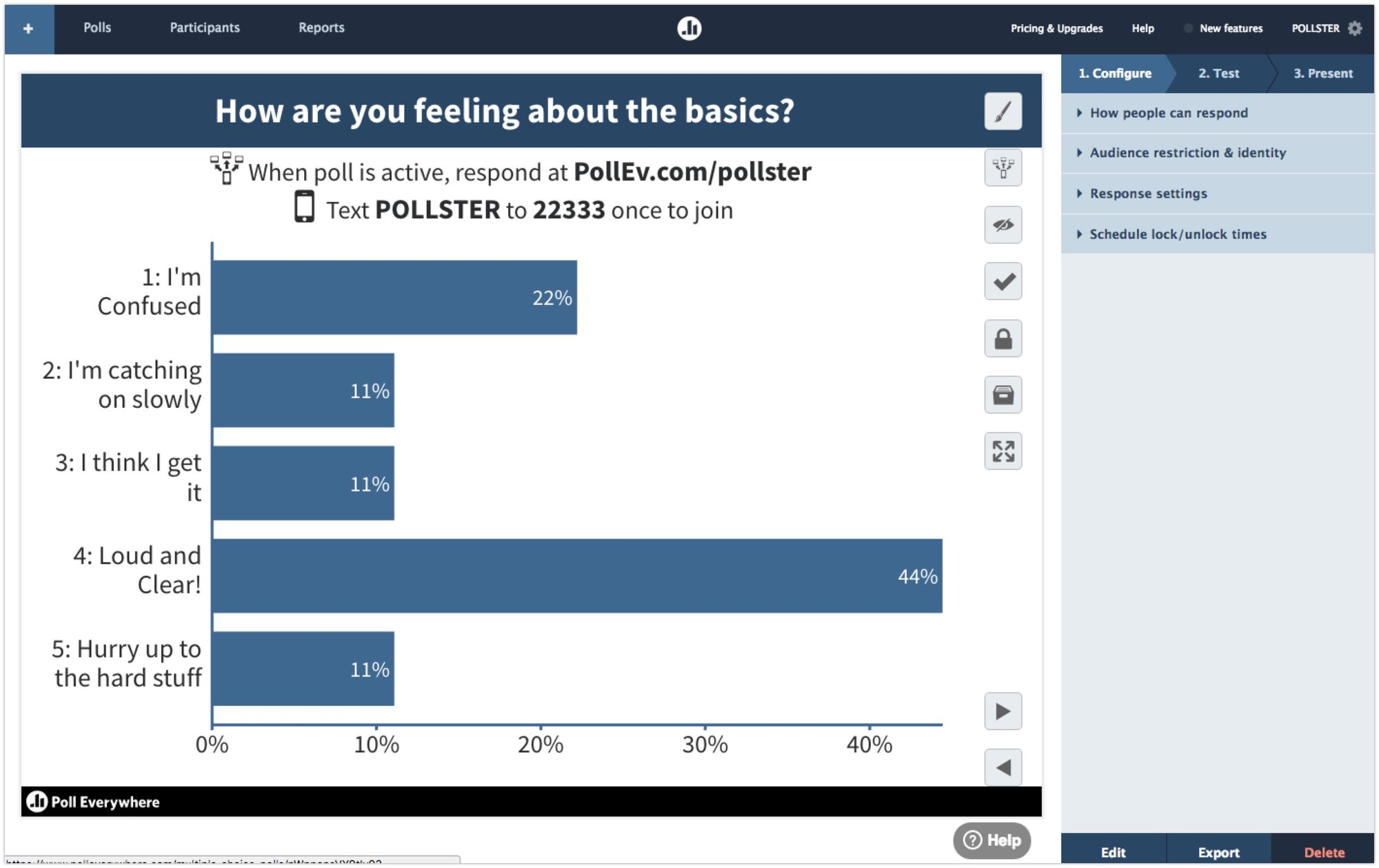 "Screenshot of Poll Everywhere asks ""How are you feeling about the basics?"" with bar chart of responses"