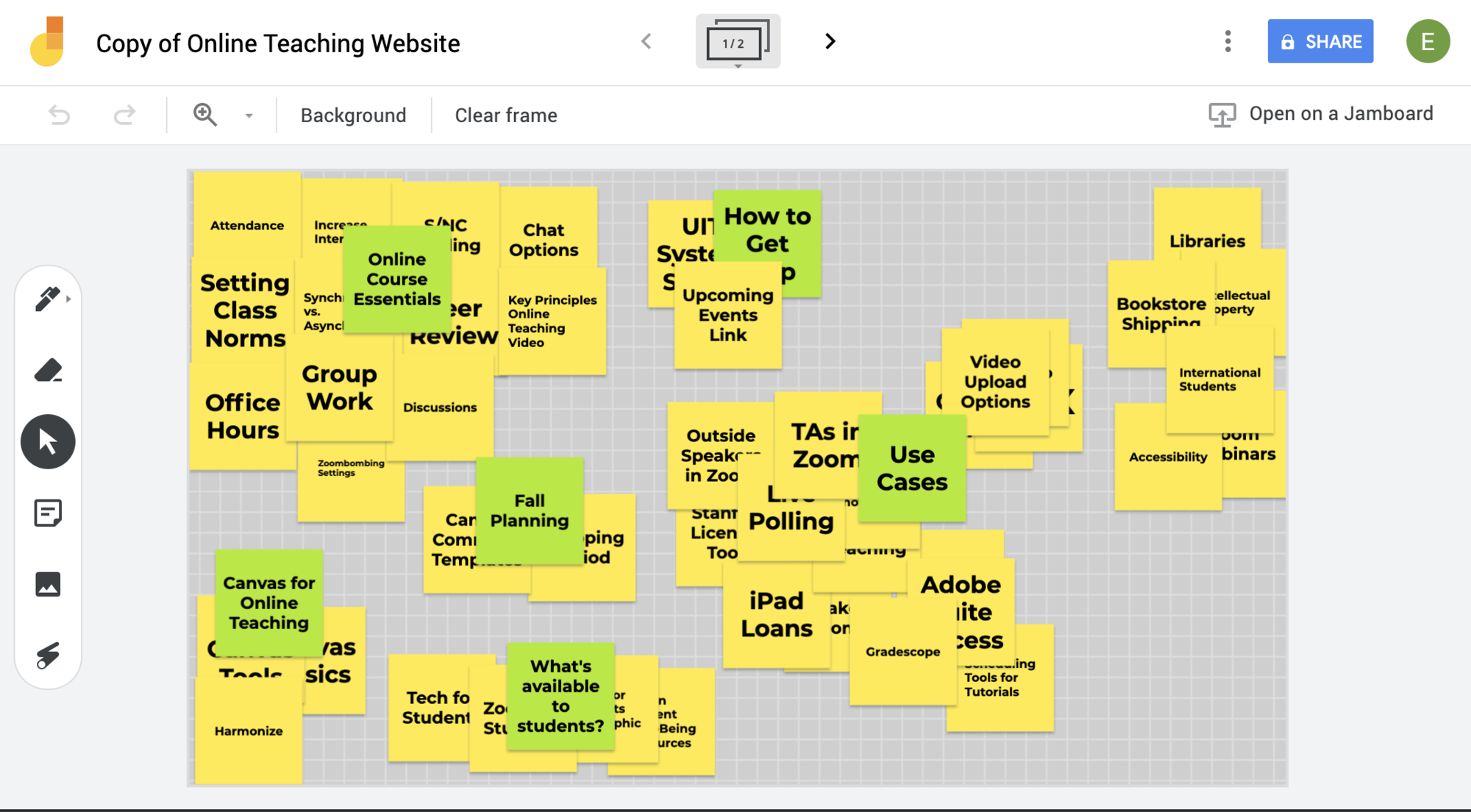Screenshot of Google Jamboard shows scattered yellow and green sticky notes