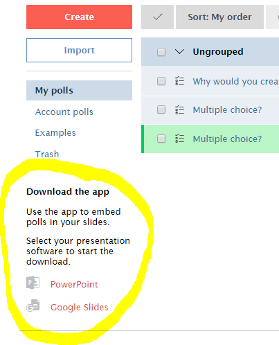 Poll Everywhere screenshot shows option to Download the app for Google Slides or PowerPoint.