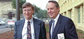 Bill Gates and James Gibbons at dedication of Gates Computer Science Building.